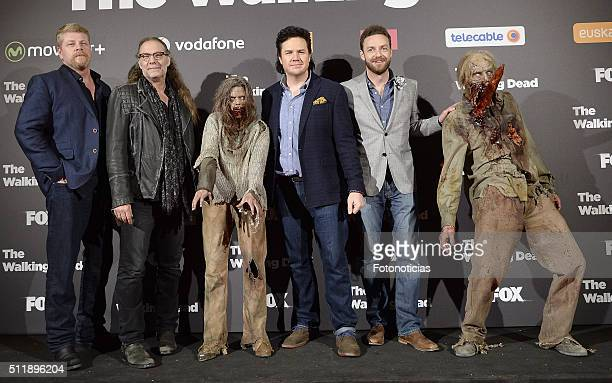 Michael Cudlitz Greg Nicotero Josh McDermitt and Ross Marquand attend the 'The Walking Dead' fan event at Callao Cinema on February 23 2016 in Madrid...