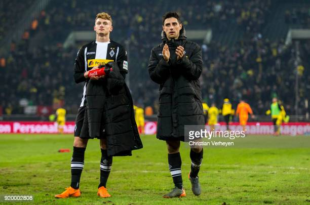 Michael Cuisance and Lars Stindl of Borussia Moenchengladbach look disappointed during the Bundesliga match between Borussia Moenchengladbach and...