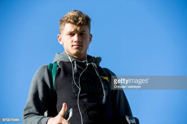 Michael Cuisance of Borussia Moenchengladbach arrives at the BORUSSIAPARK prior the Bundesliga match between Borussia Moenchengladbach and 1 FSV...