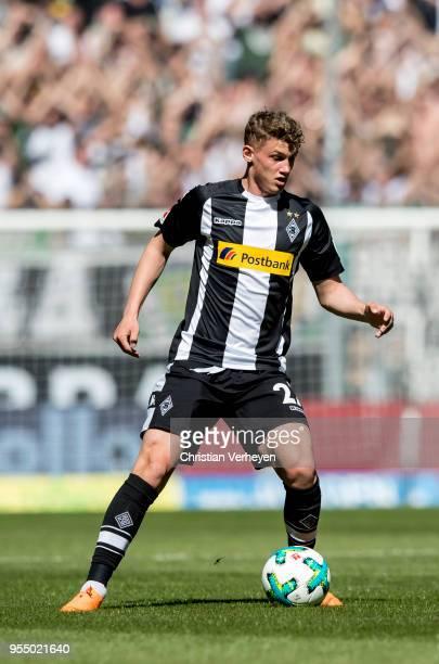 Michael Cuisance of Borussia Moenchengladbach controls the ball during the Bundesliga match between Borussia Moenchengladbach and SC Freiburg at...
