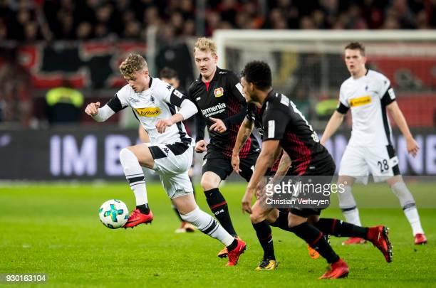 Michael Cuisance of Borussia Moenchengladbach during the Bundesliga match between Bayer 04 Leverkusen and Borussia Moenchengladbach at BayArena on...