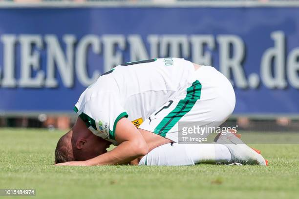 Michael Cuisance of Borussia Moenchengladbach on the ground during the friendly match beween Borussia Moenchengladbach and Espanyol Barcelona on...