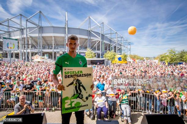 Michael Cuisance of Borussia Moenchengladbach pose at the Season Opening Party after the preseason friendly match between Borussia Moenchengladbach...