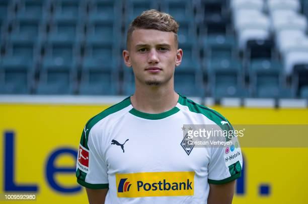 Michael Cuisance of Borussia Moenchengladbach poses during the Team Presentation of Borussia Moenchengladbach at BorussiaPark on August 02 2018 in...