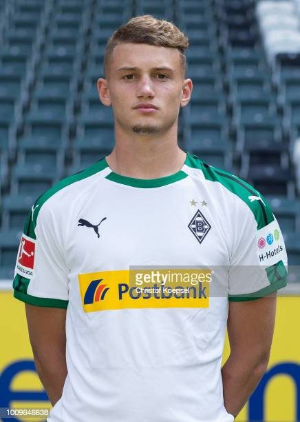 Michael Cuisance of Borussia Moenchengladbach poses during the team presentation at Borussia Park on August 2 2018 in Moenchengladbach Germany