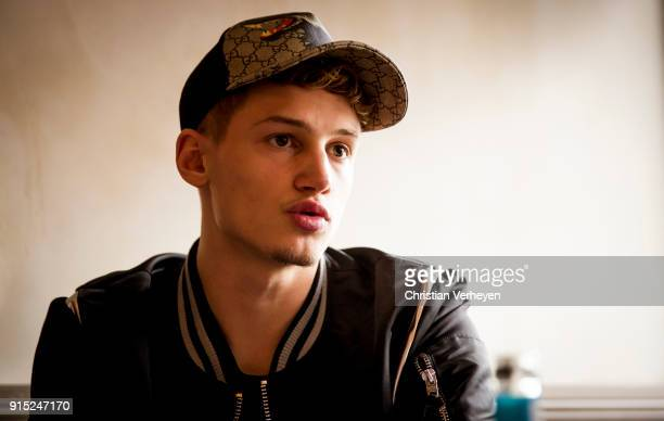 Michael Cuisance of Borussia Moenchengladbach talks during a portrait session on January 22 2018 in Moenchengladbach Germany