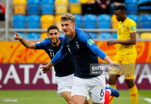 Michael Cuisance of France celebrates after scoring his team's first goal during the 2019 FIFA U-20 World Cup group E match between Mali and France...