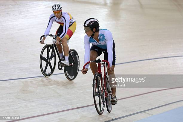 Michael Culling of Southland and Jordan Castle of West Coast North Island compete in the men's U19 Sprint final during the BikeNZ Elite U19 Track...