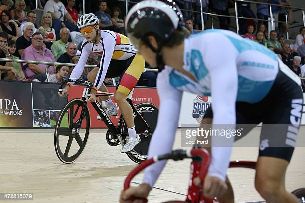 Michael Culling of Southland keeps his eye on opponent Jordan Castle of West Coast North Island during the men's U19 Sprint final during the BikeNZ...