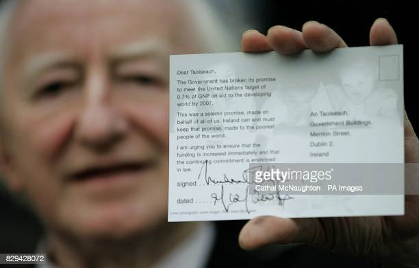 Michael D Higgins Labour Party President and spokesperson outside Mansion House in Dublin at the launch of his party's postcard campaign on overseas...