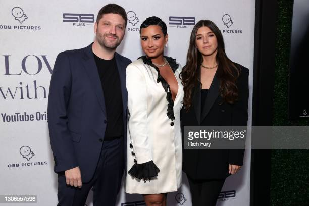 Michael D. Ratner, Director/Executive Producer OBB Pictures, Demi Lovato and Lauren Rothberg attend the OBB Premiere Event for YouTube Originals...