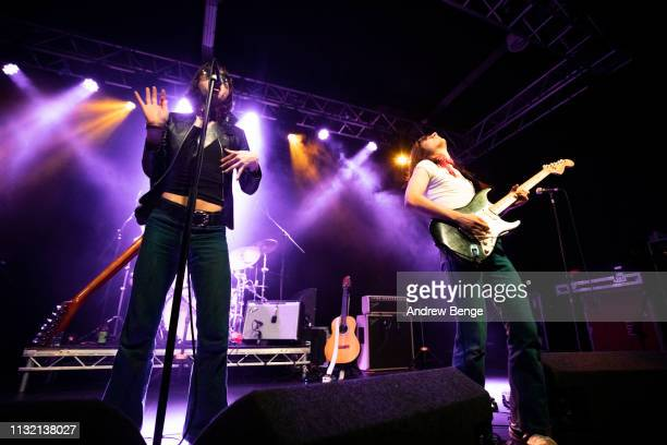 Michael D'Addario and Brian D'Addario of The Lemon Twigs perform at Stylus on February 25 2019 in Leeds England
