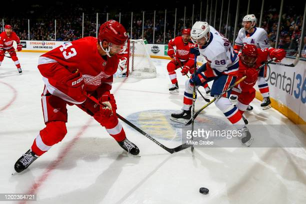 Michael Dal Colle of the New York Islanders battles for the puck with Darren Helm and Alex Biega of the Detroit Red Wings during the first period at...