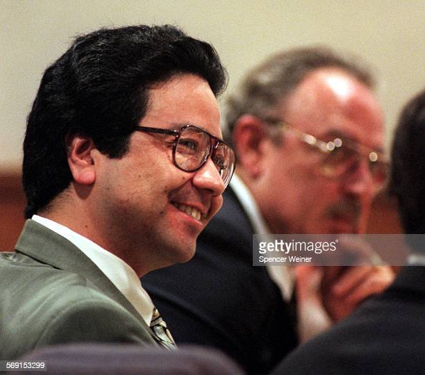 Michael Dally smiles during closing arguments Wednesday in Ventura. Dally is on trial for his alleged role in the murder of his wife Sherri Renee...