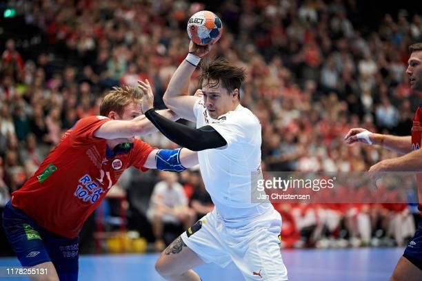 Michael Damgaard of Denmark in action during the Golden League match between Denmark and Norway in Gigantium on October 26, 2019 in Aalborg, Denmark.
