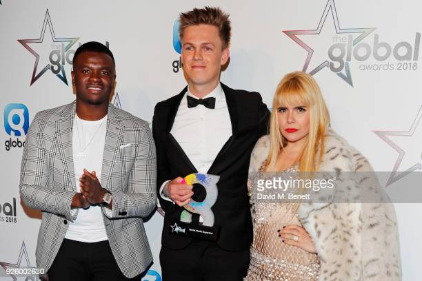 Michael Dapaah aka Big Shaq Caspar Lee winner of the Social Media Superstar award and Paloma Faith attend The Global Awards 2018 at Eventim Apollo...