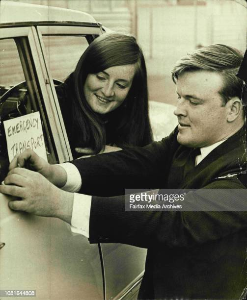 Michael Darby with his sister Alison prepare for today strike They are at Manly Wharfe Michael attached while his sister looks on August 30 1965