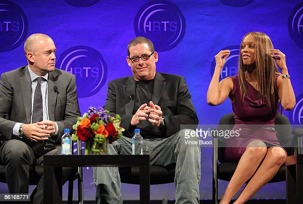 Michael Davies president Embassy Row Mike Fleiss founder Next Entertainment and talk show host Tyra Banks attend The Hollywood Radio and Television...