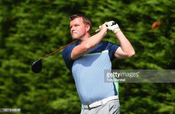 Michael Davis of South Beds Golf Club plays his first shot on the 1st tee during The Lombard Trophy East Qualifier at Sandy Lodge Golf Club on July...