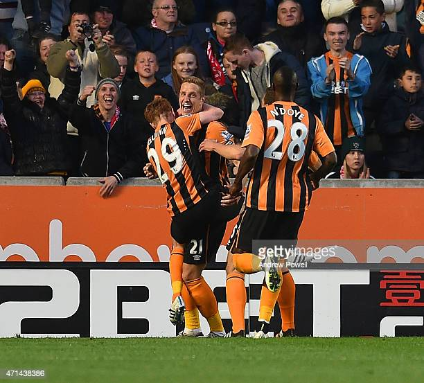Michael Dawson of Hull City celebrates after scoing the opening goal during the Barclays Premier League match between Hull City and Liverpool at KC...