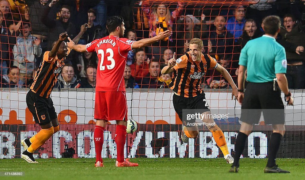 Michael Dawson of Hull City celebrates after scoing the opening goal during the Barclays Premier League match between Hull City and Liverpool at KC Stadium on April 28, 2015 in Hull, England.
