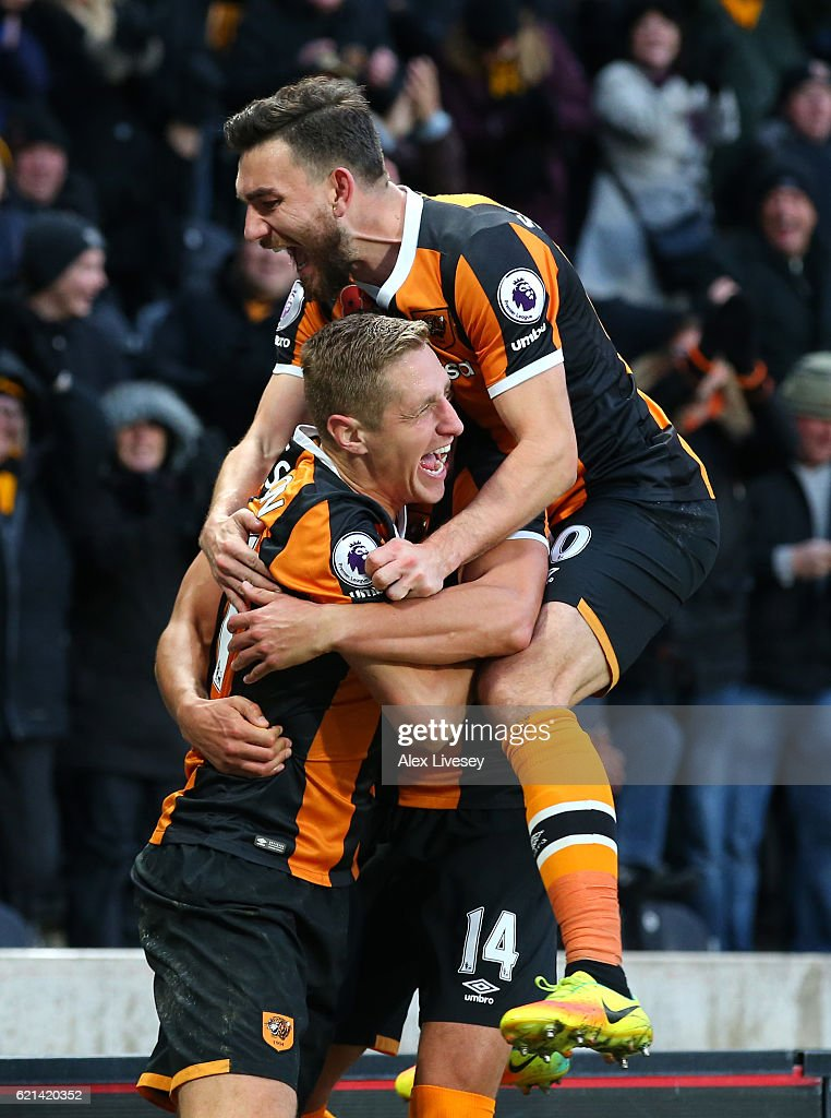 Michael Dawson of Hull City celebrates scoring his sides second goal with Robert Snodgrass of Hull City during the Premier League match between Hull City and Southampton at KC Stadium on November 6, 2016 in Hull, England.