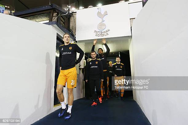 Michael Dawson of Hull City leads his team out to warm up prior to kick off during the Premier League match between Tottenham Hotspur and Hull City...
