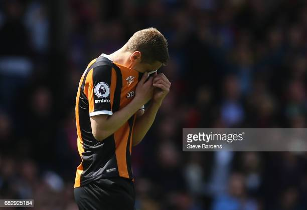 Michael Dawson of Hull City looks dejected as they are relegated to the Championship after the Premier League match between Crystal Palace and Hull...