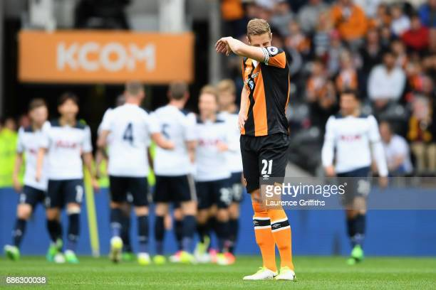Michael Dawson of Hull City looks dejected during the Premier League match between Hull City and Tottenham Hotspur at the KC Stadium on May 21 2017...