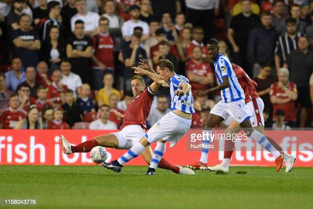 Michael Dawson of Nottingham Forest blocks a shot from David ZURUTUZA of Real Sociedad during the Pre-season Friendly match between Nottingham Forest...