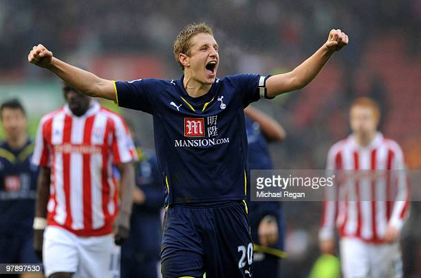 Michael Dawson of Tottenham celebrates after the Barclays Premier League match between Stoke City and Tottenham Hotspur at the Britannia Stadium on...