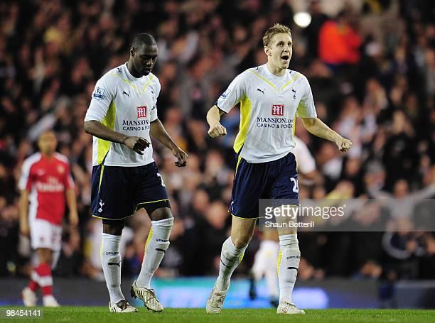 Michael Dawson of Tottenham Hotspur celebrates their second goal scored by Gareth Bale during the Barclays Premier League match between Tottenham...