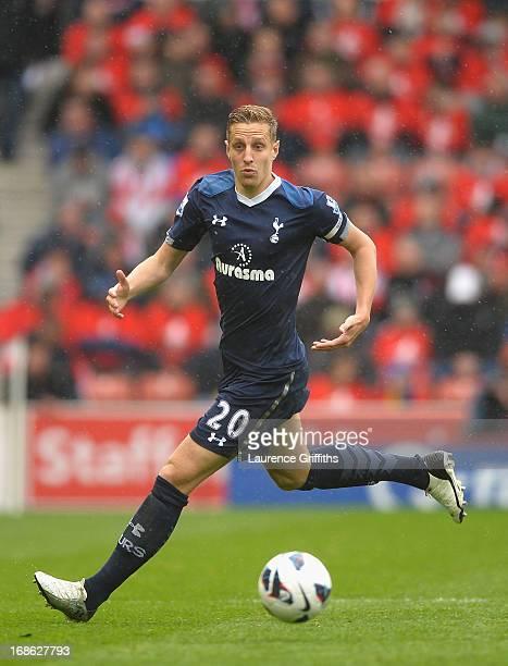 Michael Dawson of Tottenham Hotspur in action during the Barclays Premier League match between Stoke City and Tottenham Hotspur at Britannia Stadium...
