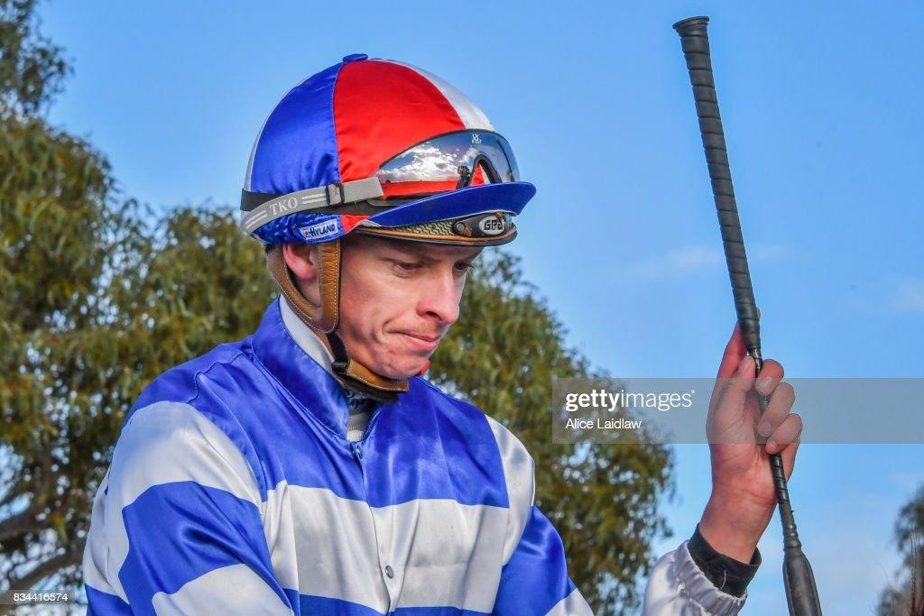 Michael Dee after winning the Lime Therapy BM64 Handicap at Mildura Racecourse on August 18, 2017 in Mildura, Australia.