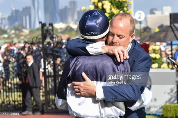 Michael Dee is congratulated after Pedrena won The Hong Kong Jockey Club Stakes at Flemington Racecourse on November 07 2017 in Flemington Australia