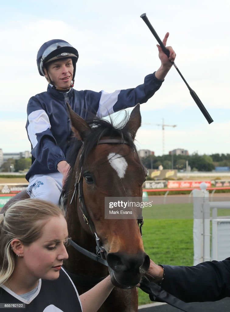 Michael Dee on Foundry returns to scale after winning race 8 the Metropolitan during Sydney Racing at Royal Randwick Racecourse on September 30, 2017 in Sydney, Australia.