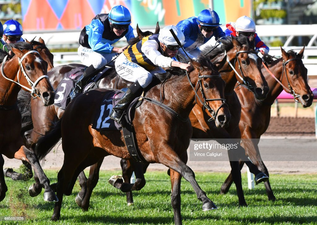 Michael Dee riding Aloisia winning Race 1, Saintly Hall of Fame Trophy during Melbourne Racing at Flemington Racecourse on May 20, 2017 in Melbourne, Australia.