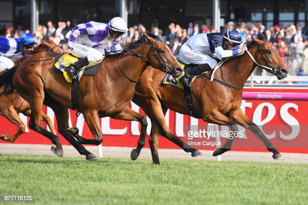 Michael Dee riding Pedrena wins Race 10 The Hong Kong Jockey Club Stakes during Melbourne Cup Day at Flemington Racecourse on November 7 2017 in...