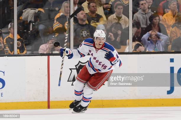 Michael Del Zotto of the New York Rangers celebrates a goal against the Boston Bruins in Game Five of the Eastern Conference Semifinals during the...