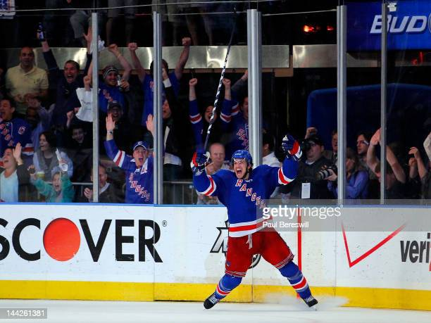 Michael Del Zotto of the New York Rangers celebrates after he scored a goal in the third period against the Washington Capitals in Game Seven of the...