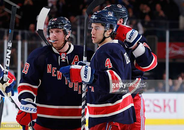 Michael Del Zotto of the New York Rangers celebrates his goal against the Montreal Canadiens at Madison Square Garden on March 30 2012 in New York...