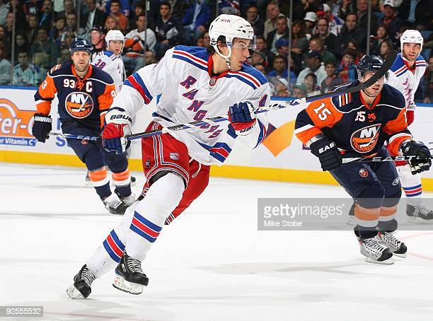 Michael Del Zotto of the New York Rangers skates against the New York Islanders on October 28, 2009 at Nassau Coliseum in Uniondale, New York....
