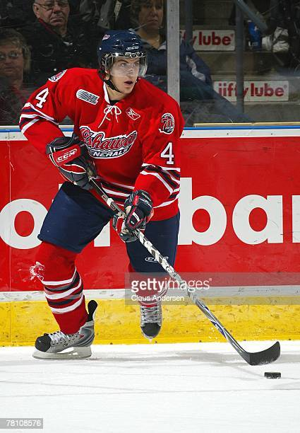 Michael Del Zotto of the Oshawa Generals carries the puck in a game against the London Knights on November 23, 2007 at the John Labatt Centre in...