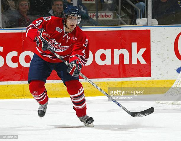 Michael Del Zotto of the Oshawa Generals fires a shout out in a game against the London Knights on November 23, 2007 at the John Labatt Centre in...