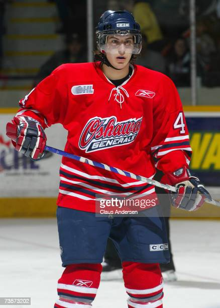 Michael Del Zotto of the Oshawa Generals skates against the Peterborough Petes at the Memorial Centre on March 10 2007 in Peterborough Ontario Canada
