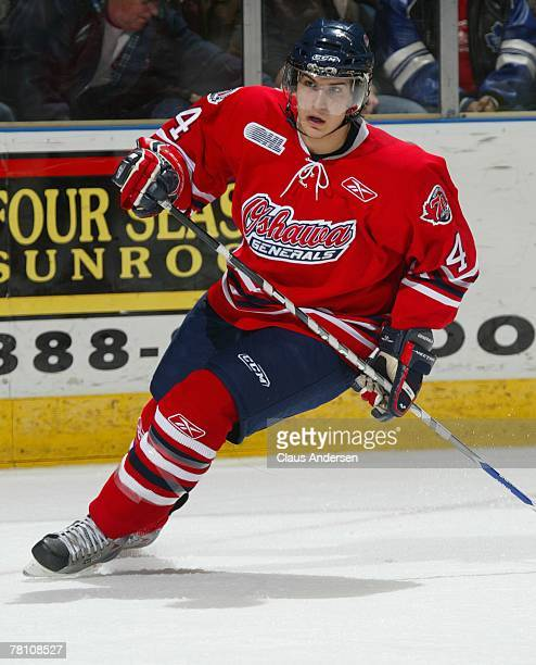 Michael Del Zotto of the Oshawa Generals skates in a game against the London Knights on November 23, 2007 at the John Labatt Centre in London,...