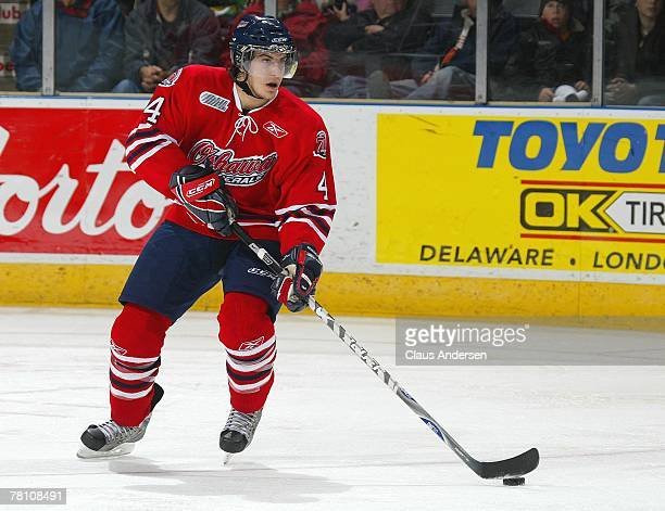 Michael Del Zotto of the Oshawa Generals skates with the puck in a game against the London Knights on November 23, 2007 at the John Labatt Centre in...