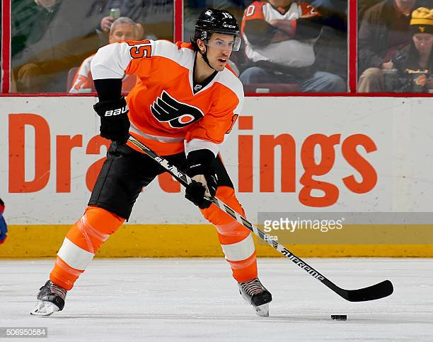 Michael Del Zotto of the Philadelphia Flyers takes the puck in the second period against the Montreal Canadiens at the Wells Fargo Center on January...