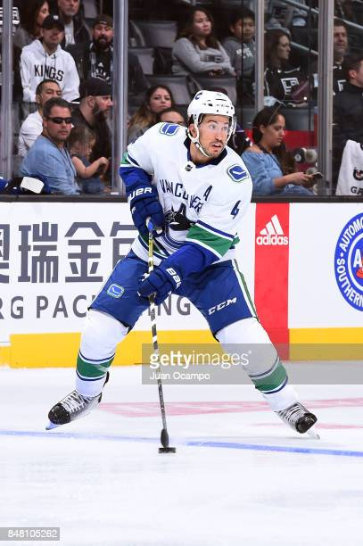 Michael Del Zotto of the Vancouver Canucks handles the puck during a game against the Los Angeles Kings at STAPLES Center on September 16 2017 in Los...