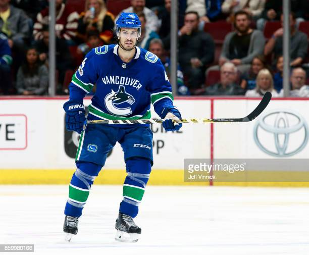 Michael Del Zotto of the Vancouver Canucks skates up ice during their NHL game against the Edmonton Oilers at Rogers Arena October 7 2017 in...